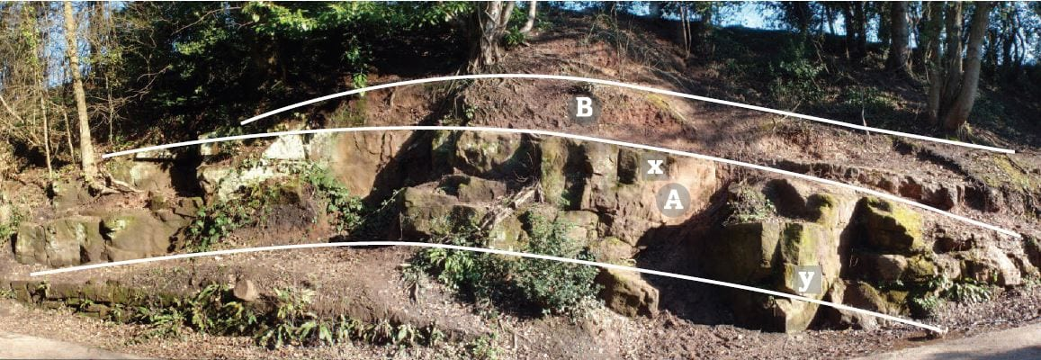 Kenilworth Cutting Outcrop of Sandstone - Image by WGCG