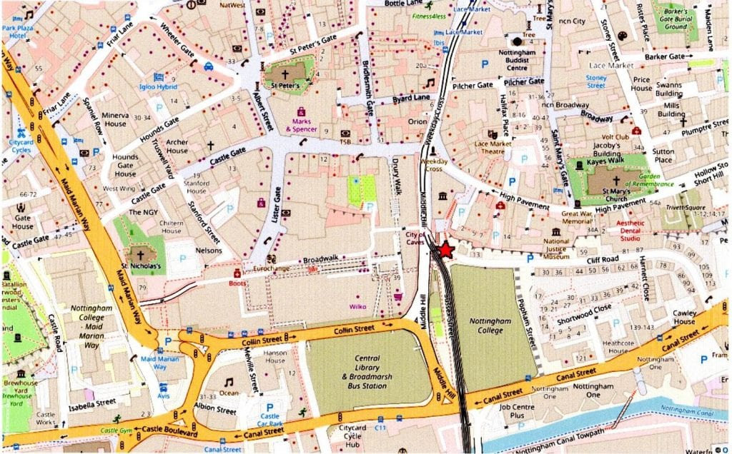Red asterisk shows City of Caves venue on Nottingham city-centre street map
