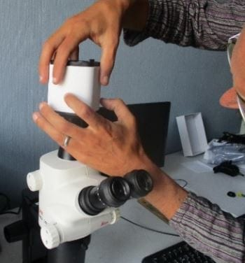 Fitting camera to microscope